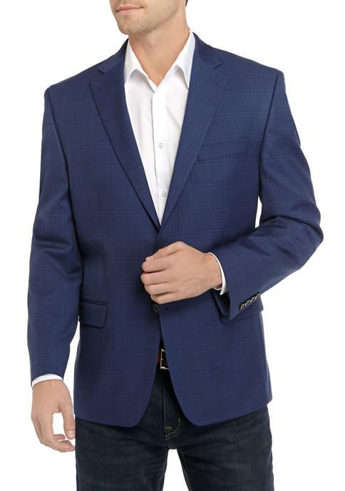 Mens Blue New Plaid Stretch Sport Coat
