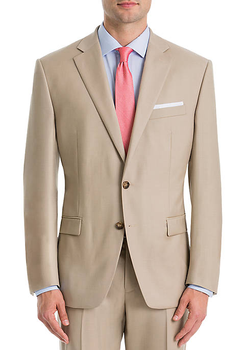 Tan Wool Straight Suit Separate Coat