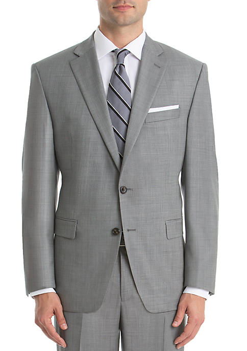 Lauren Ralph Lauren Light Gray Sharkskin Wool Straight