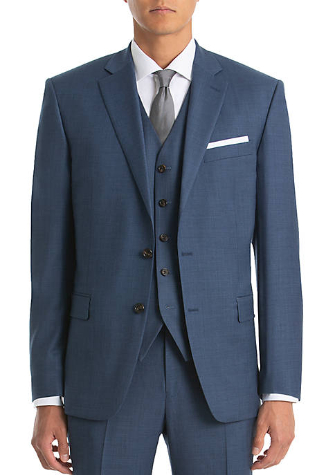 Lauren Ralph Lauren Blue Sharkskin Wool Straight Suit