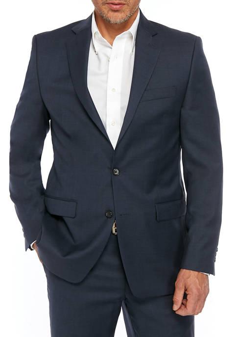 Lauren Ralph Lauren Mens Blue Houndstooth Sport Coat