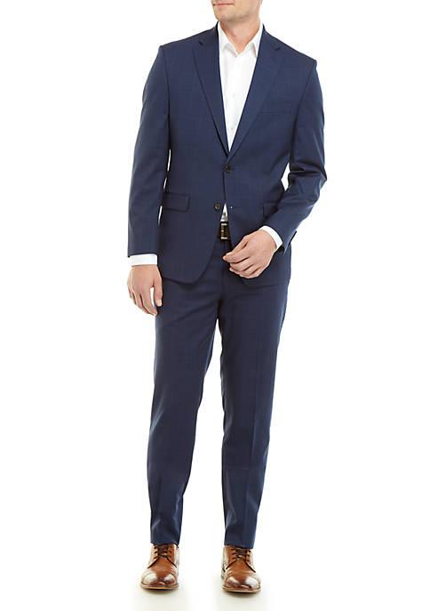Lauren Ralph Lauren Navy Windowpane Suit