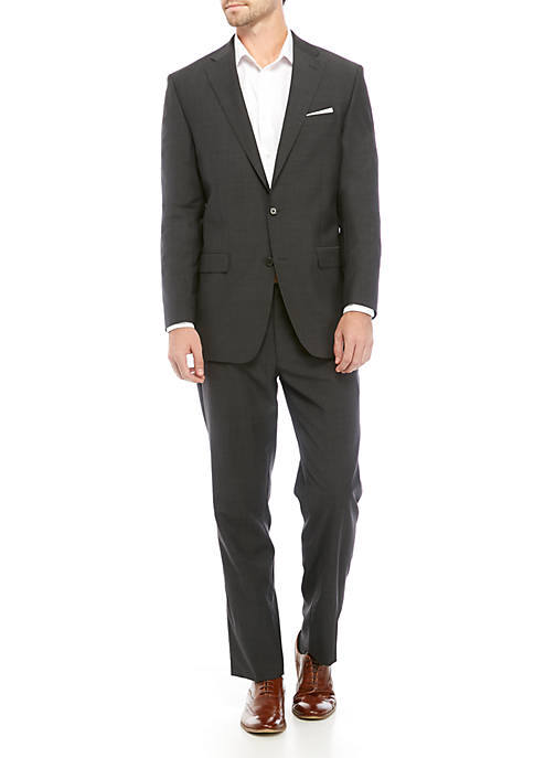 Mens Charcoal Gray Mini Tic Weave Suit