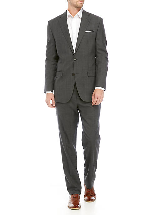 Lauren Ralph Lauren Mens Charcoal Gray Plaid Suit