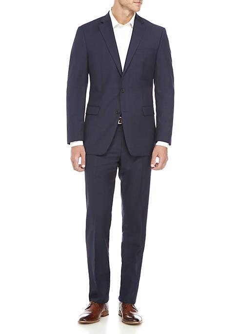 Dark Blue Plaid Suit Jacket