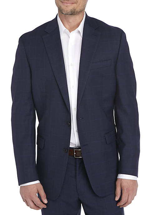Navy Plaid Suit Coat