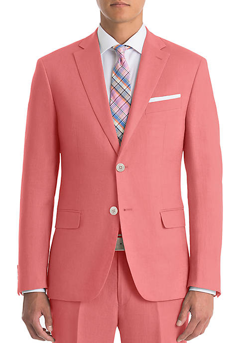 Red Linen Suit Separate Coat