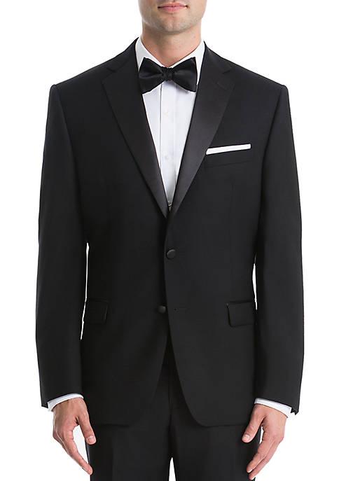 Plain Black Wool Tuxedo Jacket