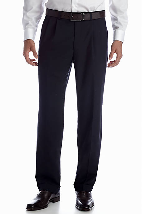 Wool Navy Pleated Pant