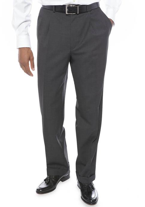 Mens Charcoal Pleated Pants