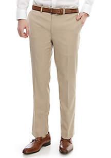 Lauren Ralph Lauren Light Tan Solid Slim Stretch Flat Front Pants