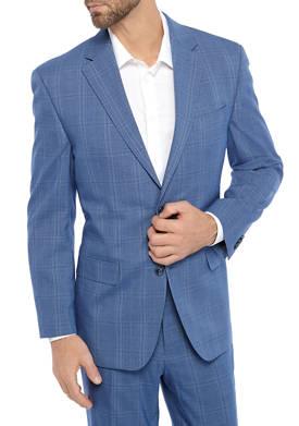 Mens Blue Plaid Stretch Suit Separate Jacket