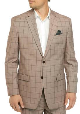 Mens Brown Windowpane Suit Separate Coat