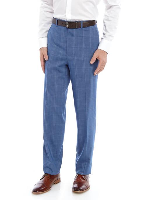 Mens Blue Plaid Stretch Suit Separate Pants