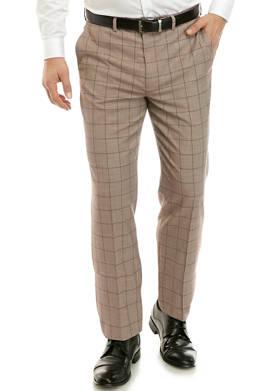 Mens Brown Windowpane Pants