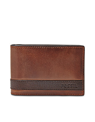 53695ff15001 Fossil® Quinn Leather Money Clip Bifold Wallet