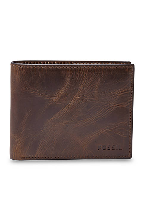 Fossil® Derrick Leather RFID Bifold with Flip ID