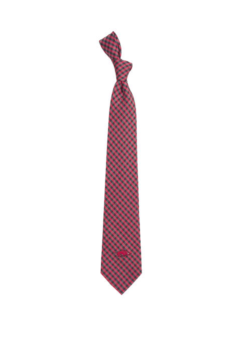 NCAA Arkansas Razorbacks Gingham Tie
