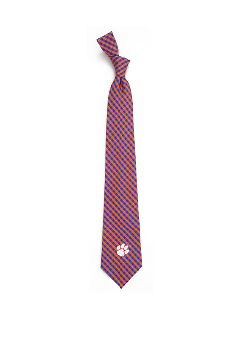 Eagles Wings NCAA Clemson Tigers Gingham Tie