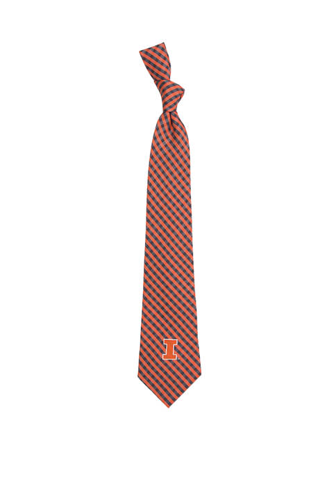 Eagles Wings NCAA Illinois Fighting Illini Gingham Tie