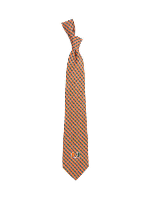NCAA Miami Hurricanes Gingham Tie