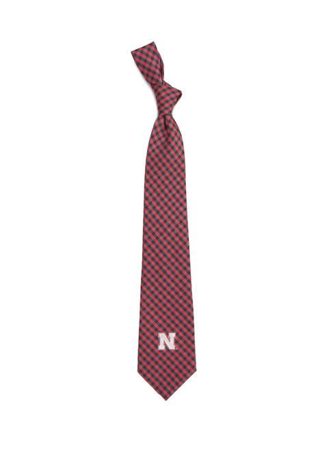 NCAA Nebraska Cornhuskers Gingham Tie