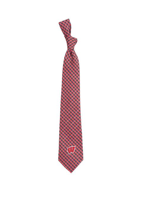 NCAA Wisconsin Badgers Gingham Tie