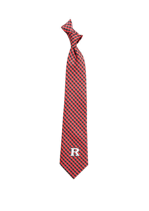 Eagles Wings NCAA Rutgers Scarlet Knights Gingham Tie