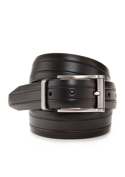 Reversible Leather Belt with Top Stitching
