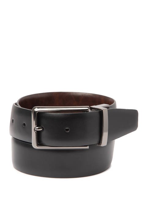 Madison 35 Millimeter Glove Grain Reversible Gunmetal Belt
