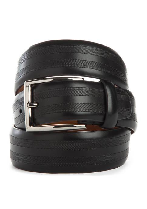 Madison 35 Millimeter Herringbone Texture Polished Buckle Belt