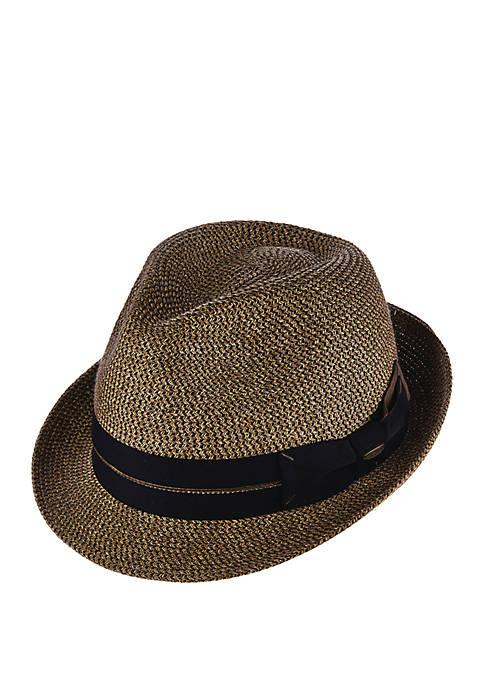 Dorfman Tweed Paper Braid Fedora Hat
