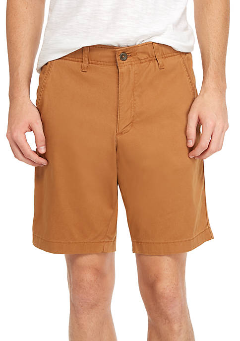 TRUE CRAFT Flat Front Washed Chino Shorts