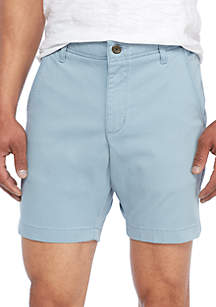 Flat Front Washed Chino Shorts