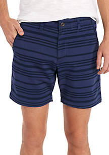 Flat Front Variegated Striped Washed Chino Shorts