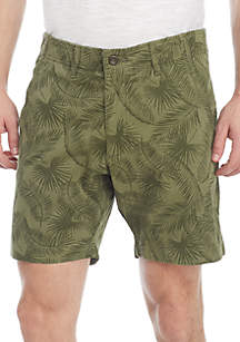 Washed Flat Front Chino Shorts