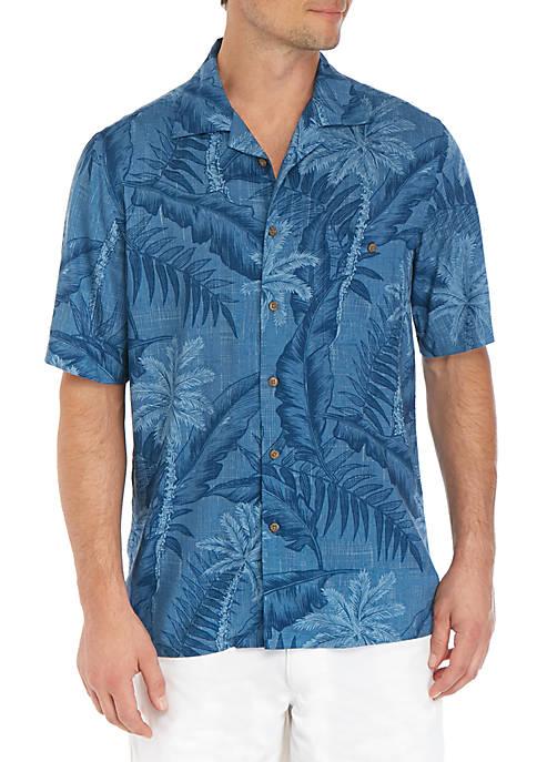 Saddlebred® Short Sleeve Woven Palm Leaf Shirt