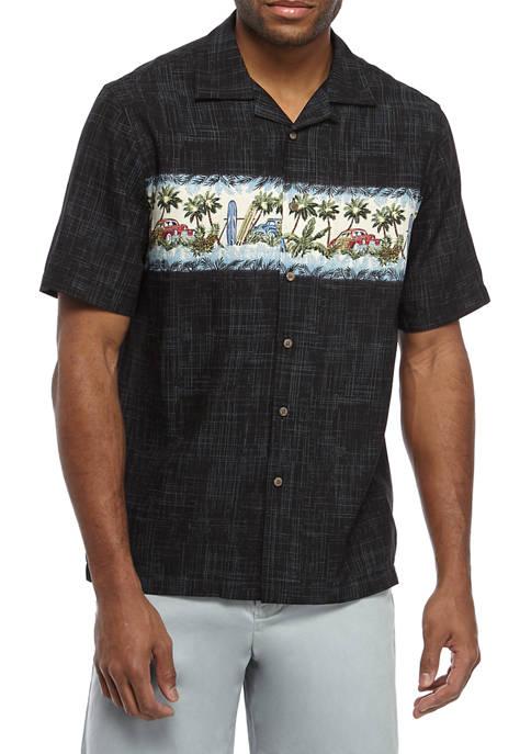 Saddlebred® Mens Short Sleeve Rayon Camp Shirt