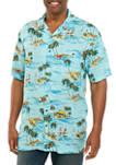 Big & Tall Short Sleeve Scenic Beach Print Camp Shirt
