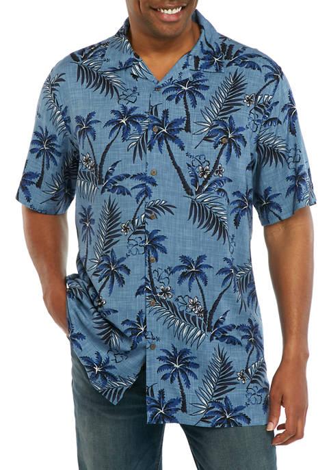 Big & Tall Short Sleeve Tonal Palm Print Camp Shirt