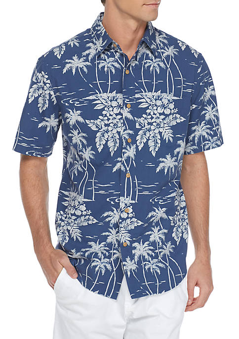 Saddlebred® Palm Tree Printed Cotton Button-Down Shirt