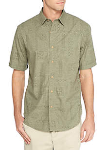 Short Sleeve Camp Cotton Two Tone Shirt