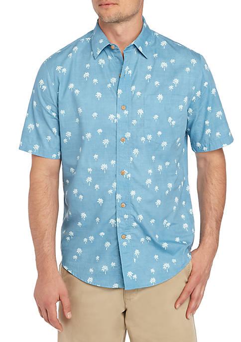 Saddlebred® Short Sleeve Palm Printed Camp Cotton Shirt