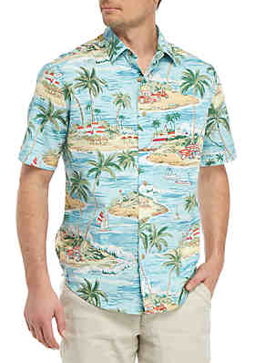 3e60a874b63cf Saddlebred® Short Sleeve Printed Camp Shirt ...
