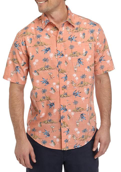 Saddlebred® Mens Short Sleeve Cotton Camp Shirt