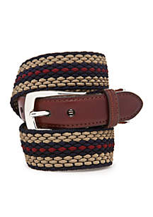 Nantucket Leather Fabric Striped Belt
