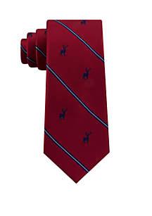 Striped Deer Print Neck Tie