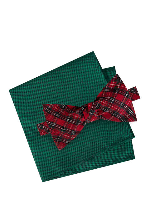 IZOD Tartan To Be Tied Bow Tie Set