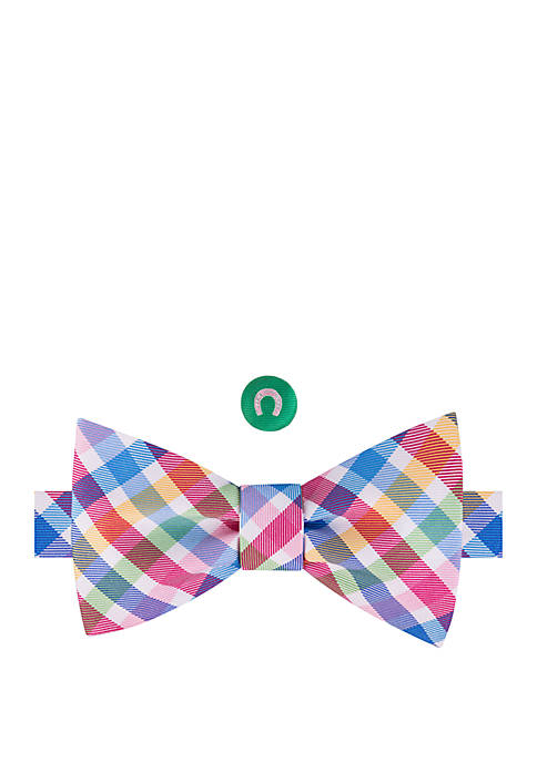 IZOD Rainbow Horseshoe Lapel Bow Tie Set