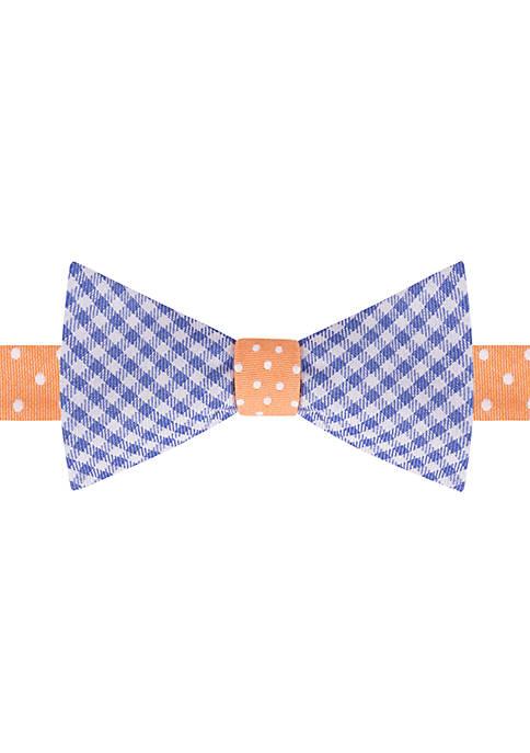 IZOD Dot Gingham Reverse Bow Tie
